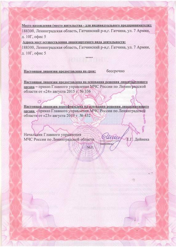 Лицензия (оборотная сторона)